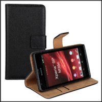 Wholesale M35h Case - Vertical Black Wallet Leather Case Cover For Sony Xperia SP M35h Mobile Cover Phone Bags & Cases