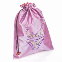 Wholesale Foldable Eco Reusable Bra Bags Woman Underwear Travel Storage Pouch Protector Case Embroidered Satin Cloth Drawstring Bag