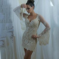 Wholesale Haute Couture Short Dresses - Spring 2017 Real Champagne sheath Evening Dresses Long Sleeves Mini Short Prom Lace Floral Haute Couture Ralph & Russo Sheath Formal Gowns