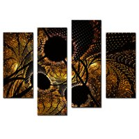 Wholesale oil painting framed abstract yellow - Amosi Art-4 Pieces Abstract Circles Black Yellow Wall Art Painting On Canvas Abstract The Picture For Home Modern Decor with Wooden Framed