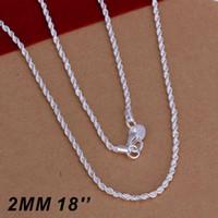 925 silberne halskette verdreht großhandel-925 Sterling Silber Twist ROPE Chain Top Qualität Männer Frauen Twist ROPE Chain Halsketten 2MM 16-24inches Hochwertiger Schmuck