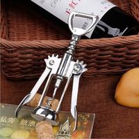 stainless steel kitchen handles for großhandel-Edelstahl Wein Flaschenöffner Griff Druck Korkenzieher Rotwein Öffner Küche Zubehör Bar Tool Flügel Korkenzieher Opener