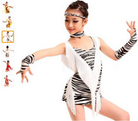 2016 Salsa Danse Fringe Dress Enfants Jaune / Rouge / Blanc Costumes Latin Dance Dress Gilrs Tiger / Zebra / Leopard pour la danse Dancewear Dress