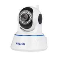 gece görüş dome ip kamera toptan satış-Escam QF002 HD 720P IP Kamera Gece Görüş 3.6mm len H.264 1/4 CMOS P2P WIFI IR CCTV Mini Dome Kamera