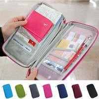 monederos iphone al por mayor-Nuevo Travel Passport ID Card Holder Cosmetic Bag Cover Wallet Purse Organizador funda para iphone 4s 5s para Samsung s3 s4 s5 8 colores