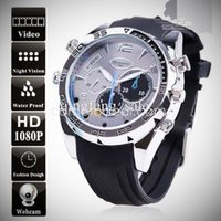 Wholesale Stainless Steel Spy Camera Watch - topsale 16GB HD 1080P PC high quality digital night vision hidden spy camera men 8GB wrist watch