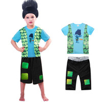 Wholesale Pajama Sets For Girls - New summer Cartoon Clothing Set TROLLS boys Pajama Sets For Girls short Sleeve Shirt + Pants 2 Pieces Suit Kids Clothing no hair