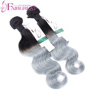 Wholesale Wholesale Gray Weaving Hair - Brazilian Virginn Hair Body Wave Ombre Hair Extensions Grey Weave 2pcs Two Tone 1b Silver Gray human Hair Ombre Brazilian Human Hai bundlesr