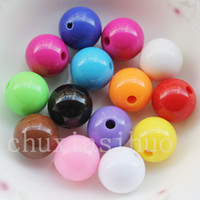 Assorted Cor Sólido Opaque Round Smooth Acrílico Spacer Loose Beads Charme 6mm