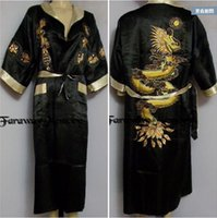 Wholesale Japanese Nightgowns Sexy - M-2XL Sexy Men's The new double-sided embroidery Dragon pajamas nightgown Japanese Silk Kimono Robe Pajamas Nightdress Sleepwear
