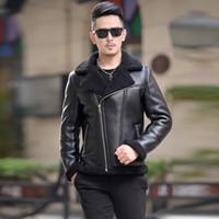Wholesale fur slim fit jacket men - Motorcycle Leather Jackets Slide Zipper Slim Fit Men Faux Leather Jacket With Fur Collar Chaqueta Cuero Hombre Leren Jas Heren