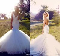 Wholesale Lace Mermaid Cathedral - Luxury Middle East Mermaid Wedding Dresses 2017 Sexy Straps Deep V Neck Backless Lace Bridal Gowns Tulle Long Sweep Train Wedding Dresses