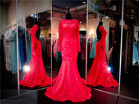 Wholesale Long Sleeved Red Pageant Dress - Red Nude Lace Sleeved Mermaid Prom Dress High Neck Long Sleeves Red Lace Evening Dress Open Back Mermaid Pageant Dress Party