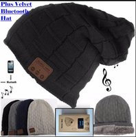 Wholesale Party Mp3 - Wireless Bluetooth 3.0V Beanie Knitted cap Plus Velvet Winter Hat Headset Speaker Mic Hand-free Music Mp3 Magic Smart Cap S773