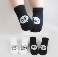 Wholesale Cute Cuffs - 2016 Spring Kids Socks Cute Yes No Boys Girls Cotton Socks Infant Baby Non-slip Socks Leg Warmers Children Boots Cuffs Socks White Black