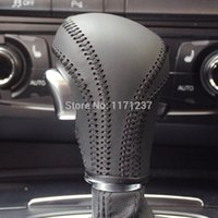 Wholesale Audi A6 Shift Knob - Wholesale-Gear Collars Case for Audi A4 A6 A5 A7 Q3 Q5 Q7 Gear cover Car styling Genuine leather Car gear knob covers Shift covers leather