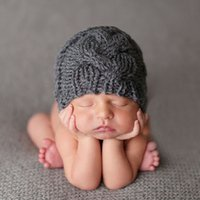 Wholesale Wholesale Baby Wool Hats - Baby Wool Crochet Hat Knitted Cotton Caps for Girls Newborn Toddlers Winter Autumn Soft Comfort Warm Sleep Cap Headwear Photography Props