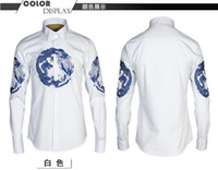 Wholesale Sleeve Fit Shirt China - Hot sale! New spring mens full sleeve print dragon china style shirts for men's clothing plus size M-4XL man Slim fit shirt