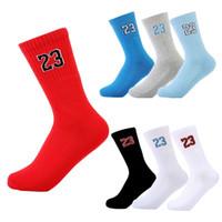 Wholesale Team Socks White - mens basketball socks star sport socken cotton breathable number 23 sock for men women unisex outdoor team training running 2017