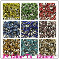 Wholesale Jewelry Beads Cheap For Bracelets - Cheap!Mixed Color Rhinestone Crystal Rondelle Spacer Beads,Rhodium Plated Big Hole European Bead for bracelet hotsale DIY Findings Jewelry