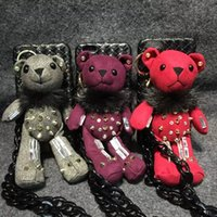 Wholesale Stuffed Bear Ornaments - 2016 3D fashion stuffed bear ornaments bracket Phone Case for iphone 6 6s 6plus 6splus cover protective sleeve Weave with chain