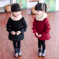 Wholesale Spring Bow Coat - Hot Fashion Autumn Winter Little Girls Quilting Skirt One Piece Dress Girl New Year Christmas Party Dress Long Sleeve Kids Top Skirts Coat