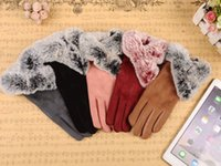 Wholesale Men Touch Micro - Autumn And Winter Touch Screen Gloves Ladies Micro Suede Fingers Gloves Big PU Leather Gloves Imitation Rabbit Reel Rabbit 5 Colors
