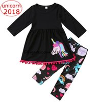 Wholesale Fancy Kids Clothing - INS Christmas Unicorn Kids Baby Girls Outfits Clothes tassels T-shirt Tops Dress + Long Pants 2PCS Set colorful fancy kids clothing sets