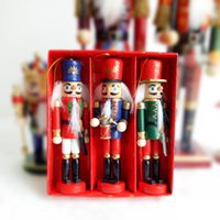 Wholesale desktop doll online - Desktop Decoration Pendant Drawing Walnuts Soldiers Band Dolls Puppet Wood Made Christmas Ornaments Puppetry Lovely Eco Friendly dq C R