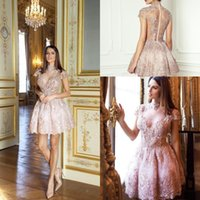 vestidos de vestidos curtos de pérola rosa venda por atacado-Lace Pearl Rosa Curto Ilusão Vestidos de Cocktail Mais Novo Elegante de Alta Pescoço A Linha Appliqued Vestidos de Baile Homecoming Prom Dress
