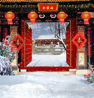 Wholesale Outdoor Props Backdrops - Chinese Gate Red Lantern Outdoor Backgrounds for Photo Studio Props 5X7ft Vinyl Wedding Children Photography Backdrops