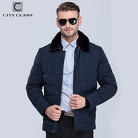 Wholesale mens rabbit coats - Wholesale- CITY CLASS 2015 Classic NEW Mens Winter warm Jackets And skinny Coats rabbit Collar Down cotton Jacket 15371