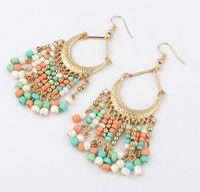 Wholesale Black Metal Earring Hooks - Lady Fashion Metal Seed Beads Tassel Earrings Women Colorful Bohemia Hook Earring Green Blue Black White Colors Coral Color Earrings
