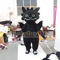 siyah ejderha kostümü toptan satış-Toptan-Siyah Ejderha Maskot Kostüm esinlenerek Nasıl Eğitin ejderha Karikatür Maskot Kostüm Custom Made
