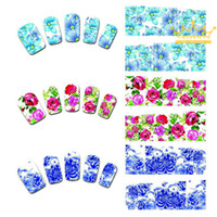 Wholesale Water Decals Rose - 50Sheets Water Transfer Nails Art Sticker Pink Red Rose Flowers Design Nail Sticker Manicure Decor Tools Cover Nail Wraps Decals