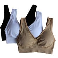 Wholesale Cotton Genie Bras - ahh bra with removable bra pads two layer Genie Bra women sport bra seamless sport bra women push up free shipping in stock