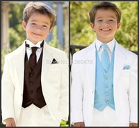 Wholesale Formal Attire Dresses - Wholesale- Custom Made Ivory Boy's Formal Occasion Children Wedding Suit Boys Attire(Jacket+Pants+Vest+tie)boys dress suit Free Shipping