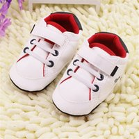 Wholesale White Baby Canvas Shoes - new arrive baby first walkers Newborn Girl Boy Soft Sole Crib Toddler Shoes Canvas Sneaker Prewalker Sports Shoes Casual 0-18 M