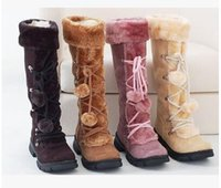 Wholesale Thigh High Heeled Boots Cheap - New Style Autumn Winter Warm cheap shoes high knitting snow boots artificial scrub leather casual Bandage female mid-calf shoes