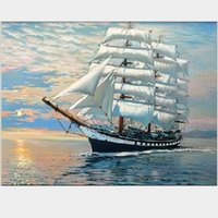 Wholesale Modern Paintings Framed - Scenery pictures diy oil painting by numbers paint acrylic paints cheap modern paintings with frame 40X50cm G423