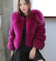 ingrosso maglia collare della pelliccia di volpe-New Fashion Inverno Haining Fur Imitazione Pelliccia di volpe colletto allentato Cappotto corto di pelliccia Plus Size Giacca donna M L XL