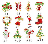 Wholesale Theme Pins Wholesale - Christmas Theme Brooch Pin Gift Beautiful Multi-colored Metal Christmas Brooch Pin Set Christmas Tree Brooches in BulkD115