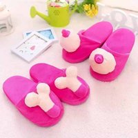 Wholesale Women Hot Penis - Wholesale- Winter Hot selling Penis Slippers Home lovers Shoes For Women Fuzzy Funny Tricky adult slippers Warm Soft Cotton Floor Slippers