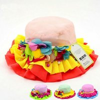 Wholesale outside kids - New design spring summer baby girls princess hat kids outside sunhat cute baby bowler hat children flower lace cap