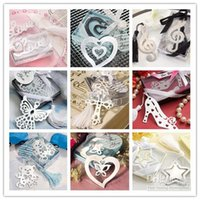 Wholesale Eiffel Bookmark - Wedding Door Gifts Stainless steel bookmarks Starfish Star eiffel  heart love butterfly Bookmark Wedding party favors 100pcs Wholesale