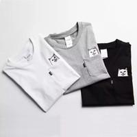 ingrosso magliette stampate divertenti-RipNDip Lord Nermal Pocket Tee Shirts Uomo Cat Graphic Print Divertenti T-shirt Bianco Nero Grigio Manica corta in cotone Tee Streetwear Uomo YBF0914