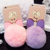 fourrure claire achat en gros de-3D Soft Peluche Rabbit Tail Peluche Fluffy Stuffed Toys Fur Tail avec corde avec strass Clear TPU Mirror Pom Phone Case pour iPhone 6s 6plus