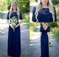 Wholesale Short Sleeve Ruffle Top - 2016 Navy Blue Country Style Cheap Bridesmaid Dresses Sheer Crew Neck Lace Top Short Sleeves Chiffon Backless Long Maid of the Honor Dresses