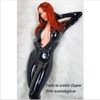 Wholesale Leather Women Teddy - Women Latex Catsuit Open Bust&Crotchless Erotic Faux Leather Jumpsuit Porn Bodysuit Fetish Gothic Teddy Costume For Female