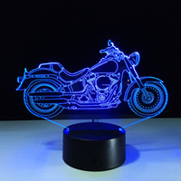 Wholesale Drop Charge - 3D Motorbike Optical Illusion Lamp RGB Colorful Night Light DC 5V USB Charging AA Battery Wholesale Dropshipping Retail Box